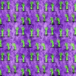 "(3/4"" scale) Zombie hands - halloween - green on purple - LAD19BS"