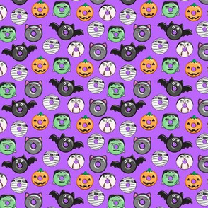 "(3/4"" scale) halloween donut medley - purple - monsters pumpkin frankenstein black cat Dracula  C19BS"