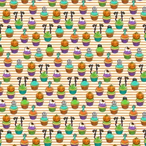 (extra small) Halloween Cupcakes - fun halloween treats - witch, eyeball, zombie, spider - orange stripes - LAD19BS