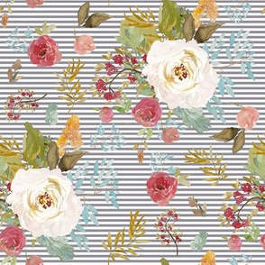 """8"""" Rustic Autumn Garden with Soft Grey Stripes"""