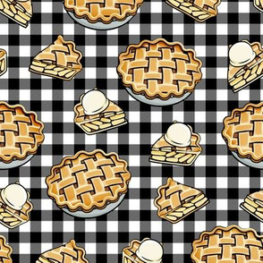 Apple Pie - Fall Dessert - black plaid - LAD19