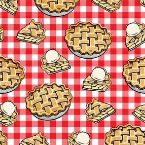 Apple Pie - Fall Dessert - Red plaid - LAD19
