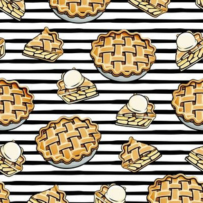 Apple Pie - Fall Dessert - black stripes - LAD19
