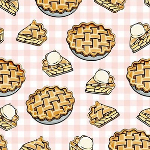 Apple Pie - Fall Dessert -  pink plaid - LAD19