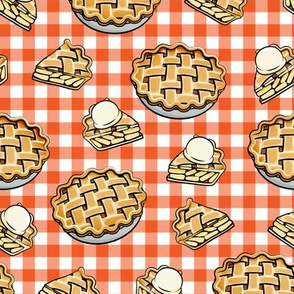 Apple Pie - Fall Dessert - orange  plaid - LAD19