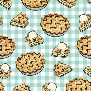 Apple Pie - Fall Dessert - mint plaid - LAD19