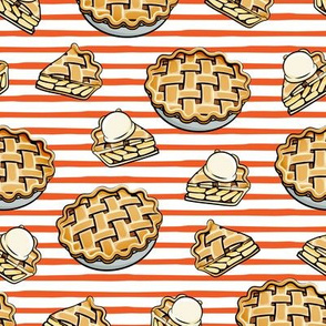 Apple Pie - Fall Dessert - orange stripes - LAD19