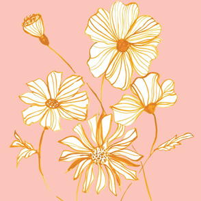 Line Flowers in Gold
