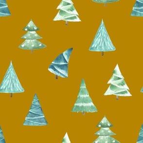 Christmas Pine Trees // Gold