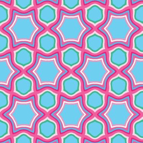 Bright geometric hexagon shapes seamless pattern.