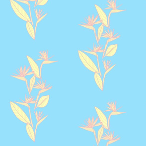Small Vertical Bird of Paradise Pastels Blue