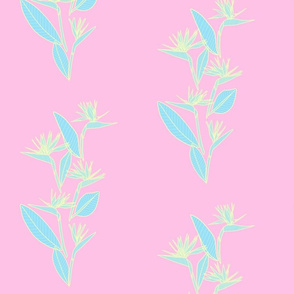 Small Vertical Bird of Paradise Pink Pastels