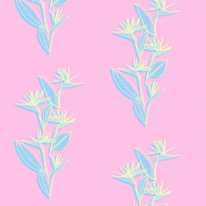 Small Misaligned Vertical Bird of Paradise Pink Pastels