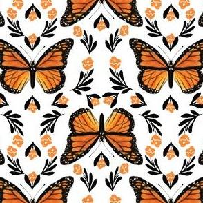 Butterfly fabric - monarch butterfly fabric, monarch butterflies - floral linocut fabric - orange
