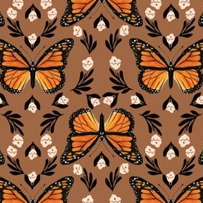 Butterfly fabric - monarch butterfly fabric, monarch butterflies - floral linocut fabric - earth