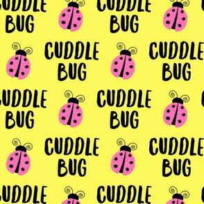 Cuddle bug - ladybug  ladybird - pink on yellow - LAD19