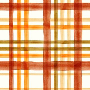 Fall Plaid - Watercolor - thanksgiving - orange & rust - LAD19