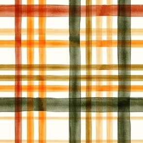 Fall Plaid - Watercolor - thanksgiving - orange & green - LAD19