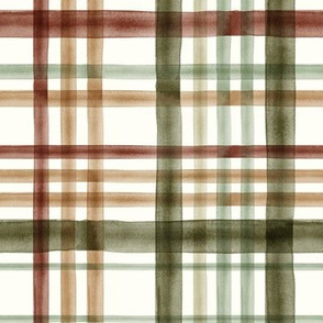 Fall Plaid - Watercolor - green - LAD19
