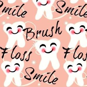 Brush Floss Smile - dental -Retro /Peachy Pink