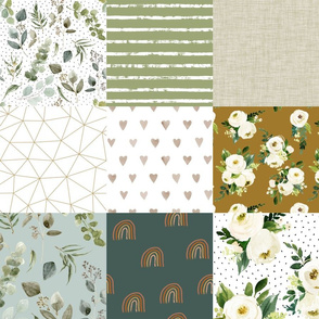 Cheater Quilt in Earth Tones: Eucalyptus, Watercolor Florals, Rainbows