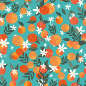 Happy Oranges Turquoise Large