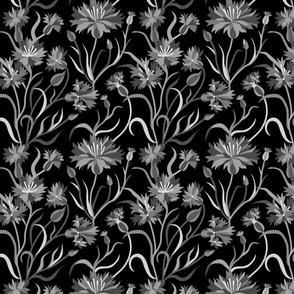 Black and white cornflowers
