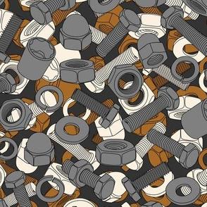 Medium nuts and bolts gray brown