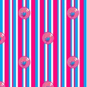 Goldfish Bubbles! Companion Stripe (Pink and Blue) 10inch repeat, David Rose Designs