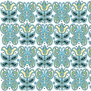 butterflies flowers blue yellow