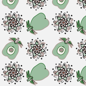 pear and medallions lt gray white_pear green