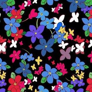 Floral Fantasy (Multicolor on Black) 5inch repeat, David Rose Designs