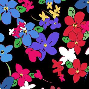 Floral Fantasy (Multicolor on Black) 25inch repeat, David Rose Designs