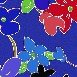 Floral Fantasy (Blue Cloisonné) 60inch repeat, David Rose Designs