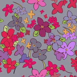 Floral Fantasy (Multicolor on Gray) 20inch repeat, David Rose Designs