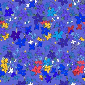 Floral Fantasy (Multicolor on Blue) 20inch repeat, David Rose Designs