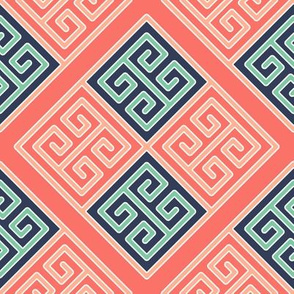 Greek Key Boxes in Navy Mint Pink and Coral