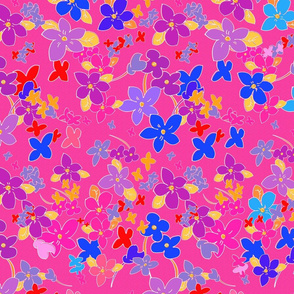 Floral Fantasy (Vibrant Pink) 30inch repeat, David Rose Designs