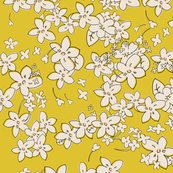 Show of Flowers (Golden Yellow) 40inch repeat, David Rose Designs