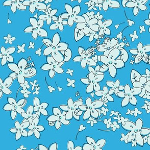 Show of Flowers (Pale Blue) 40inch repeat, David Rose Designs