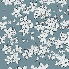 Show of Flowers (Slate Gray) 40inch repeat, David Rose Designs