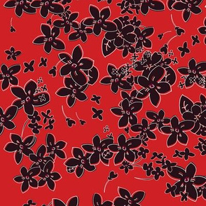 Show of Flowers (Black on Red) 40inch repeat, David Rose Designs