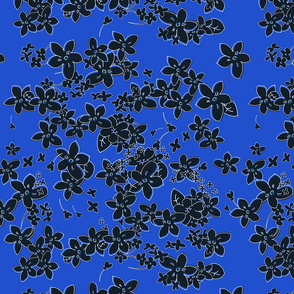 Show of Flowers (Black on Navy) 60inch Repeat