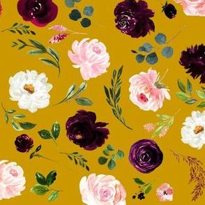 Burgundy Lovefest Florals // Buddha Gold