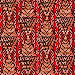 Touch Tomorrow / Mod abstract diamond stripe / Orange-Red