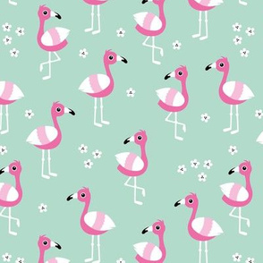 Little flamingo island tropical summer birds pink mint girls