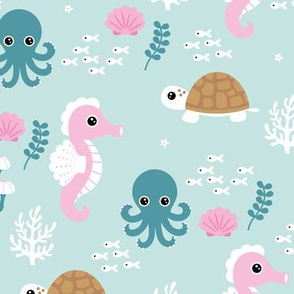Deep sea coral reef friends ocean fish turtle sea horses and squid kids print mint pink girls