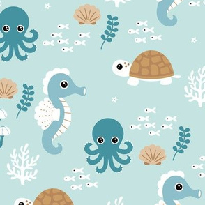 Deep sea coral reef friends ocean fish turtle sea horses and squid kids print blue cinnamon boys