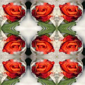 fire roses in ice white kaleidoscope large size