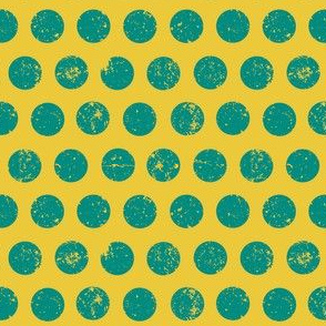 Distressed Dots Mustard and Turquoise